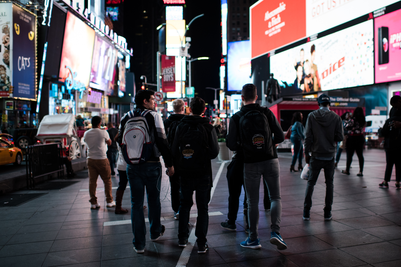 Members of H2k-Gaming walk through Times Square in New York, NY at 2AM, the day of their semifinal matchup with Samsung Galaxy for a chance to play in the League of Legends World Championship Finals.