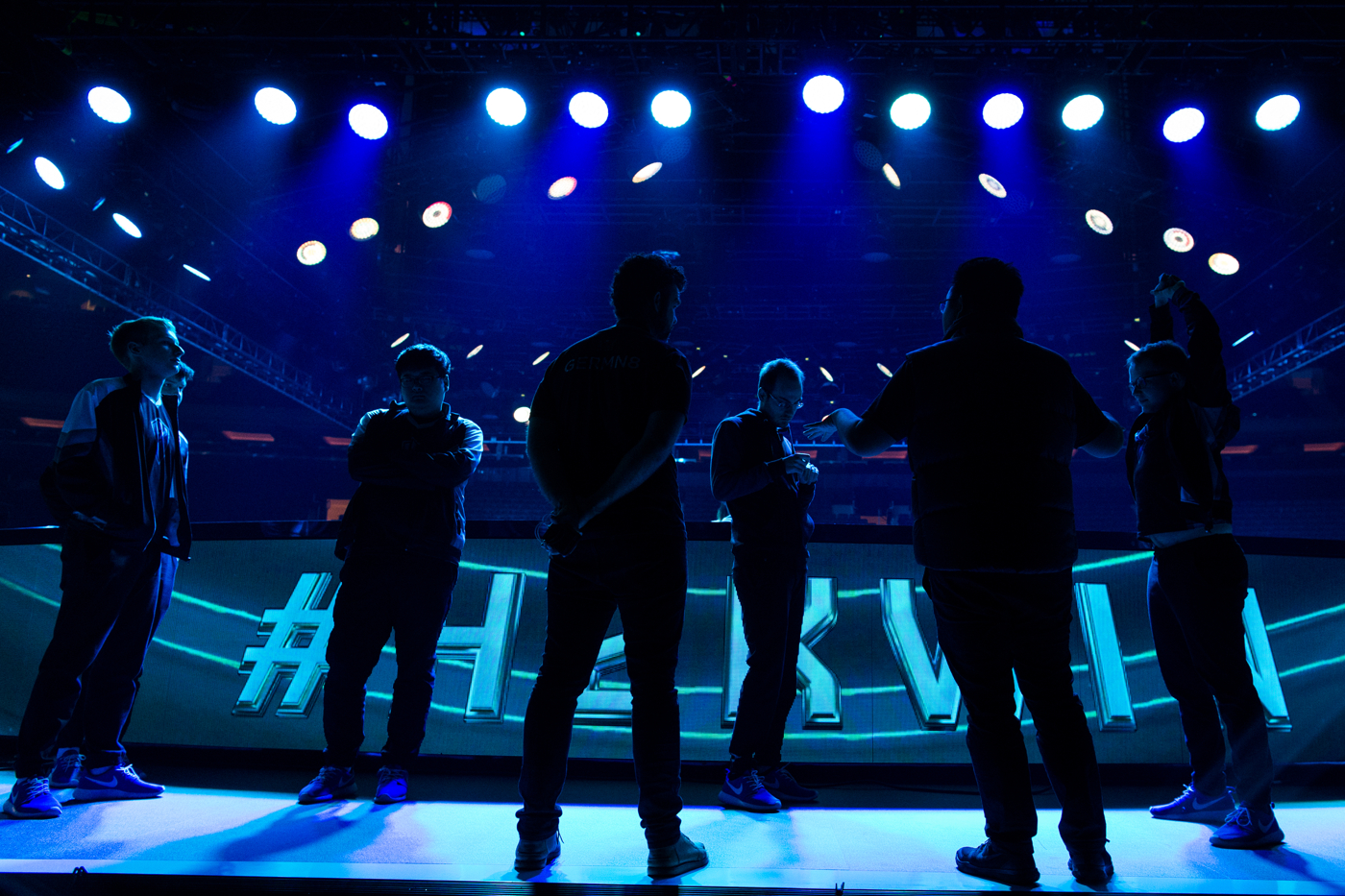 Members of H2k stand on stage during a rehearsal the day of their semifinal match in Madison Square Garden.