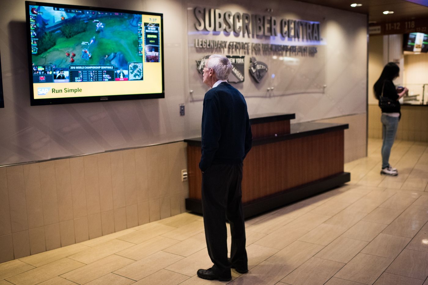 A member of the Madison Square Garden staff watches the League of Legends World Championship semifinal match between H2k-Gaming and Samsung Galaxy.