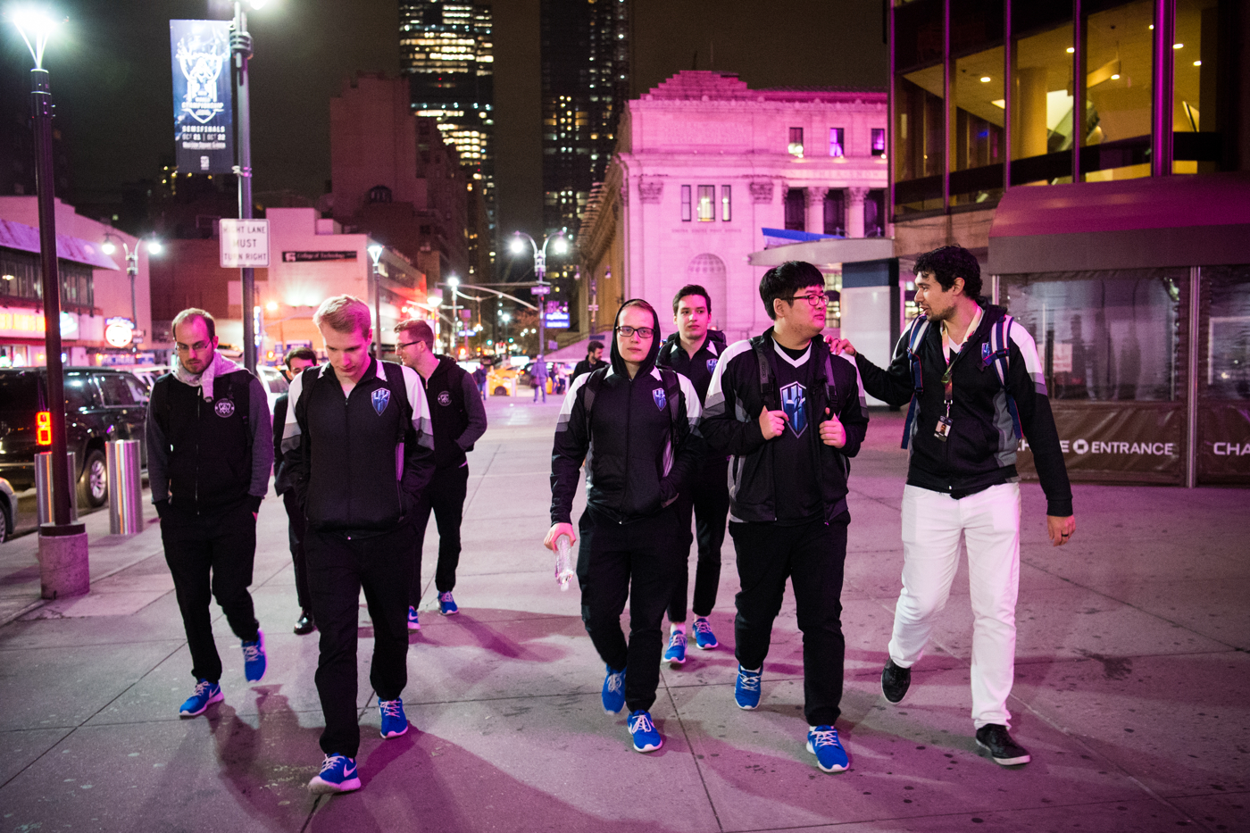 H2k leaves Madison Square Garden after taking photographs with a few fans after their loss to Samsung Galaxy.