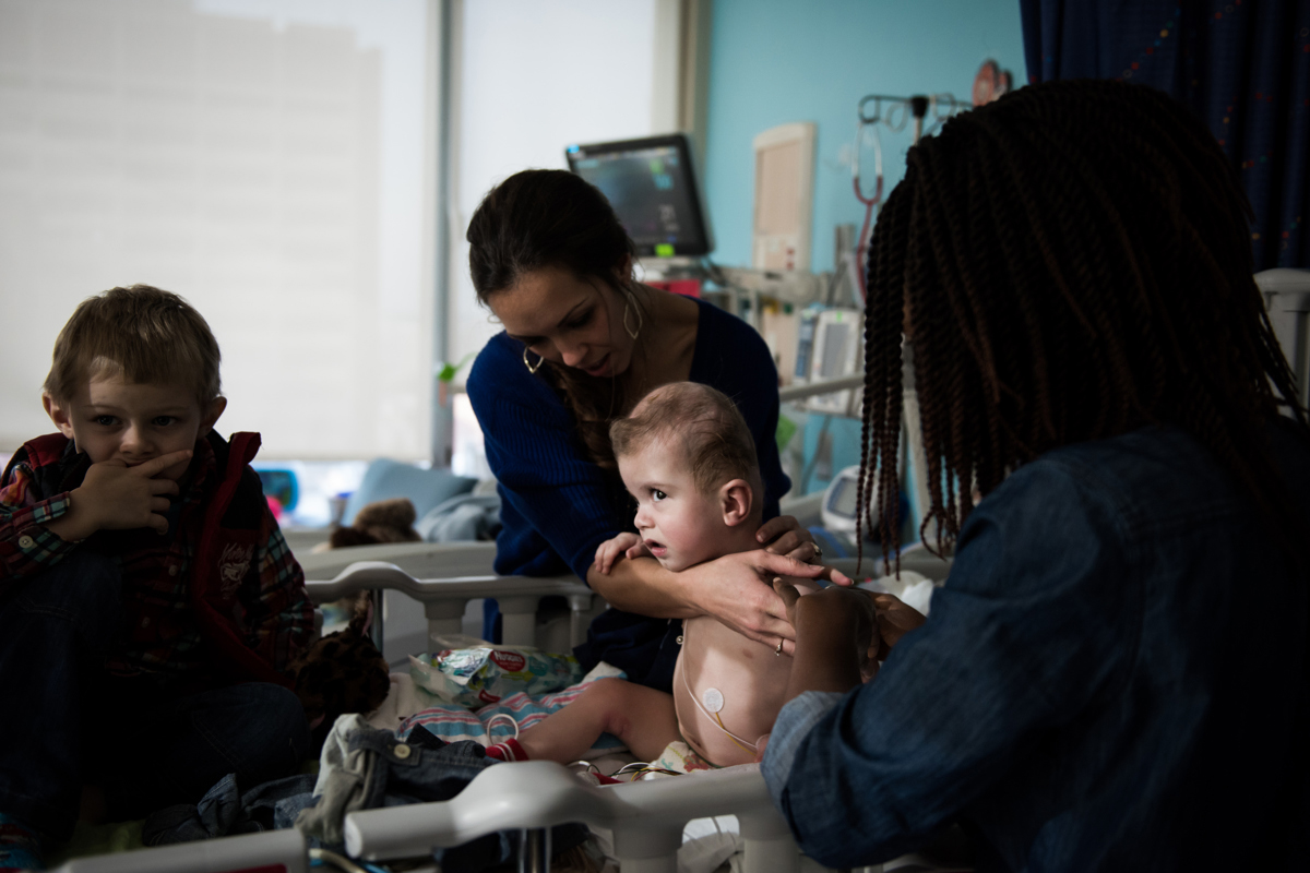 Jadon McDonald gets dressed for a goodbye party after months at Montefiore Children's Hospital in The Bronx, New York, N.Y. on December 13, 2016.Credit: Mark Kauzlarich for CNN
