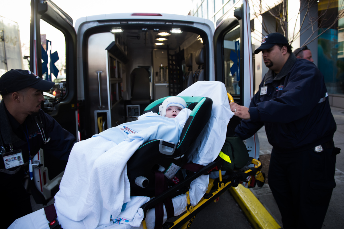 Jadon McDonald is loaded into an ambulance as the family leaves Montefiore Children's Hospital in The Bronx, New York, N.Y. on December 14, 2016.