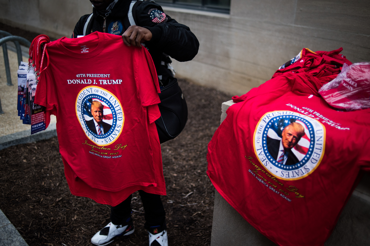 A vendor sells t-shirts before Donald Trump's inauguration as the 45th President of the United States in Washington, D.C., on January 20, 2017. Credit: Mark Kauzlarich for CNN