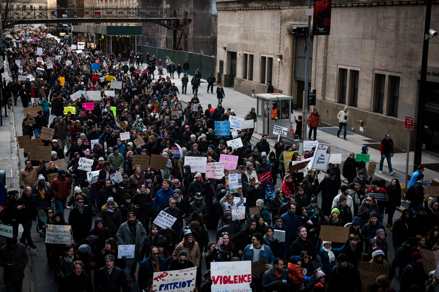 Protestors march from Battery Park to Federal Plaza in the Manhattan borough of New York, NY on Saturday, January 29, 2017. Credit: Mark Kauzlarich for CNN