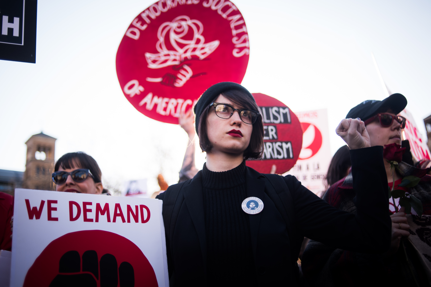 """Sarah Lyons, 24, during an International Women's Day rally and march at Washington Square Park in New York, NY on March 8, 2017. She said:""""I'm litigated by the fact that women's labor isn't valued much in this country, not just in the office but their emotional labor too. I stand in solitary with those who couldn't take off work today. My mother was a politician and she inspired me but I'm also inspired by the magnitudes of women that came before me and had to fight this fight, and the ones who will after. I hope it sends a message to working women and those who couldn't strike today to show that their labor is valued and they are valued in society."""" CREDIT: Mark Kauzlarich for CNN"""