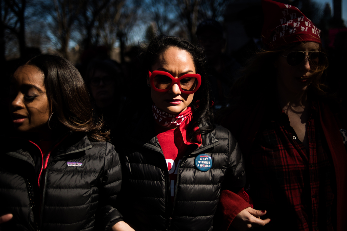 Carmen Perez, national co-chair for the Women's March, walks down 59th Street during an International Women's Day rally and march in New York, NY on March 8, 2017. CREDIT: Mark Kauzlarich for CNN