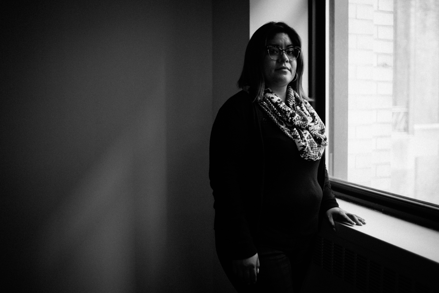 Maribelle, an undocumented immigrant from Mexico, stands for a portrait at Catholic Charities Community Services office in New York, NY on March 9, 2017. CREDIT: Mark Kauzlarich for CNN