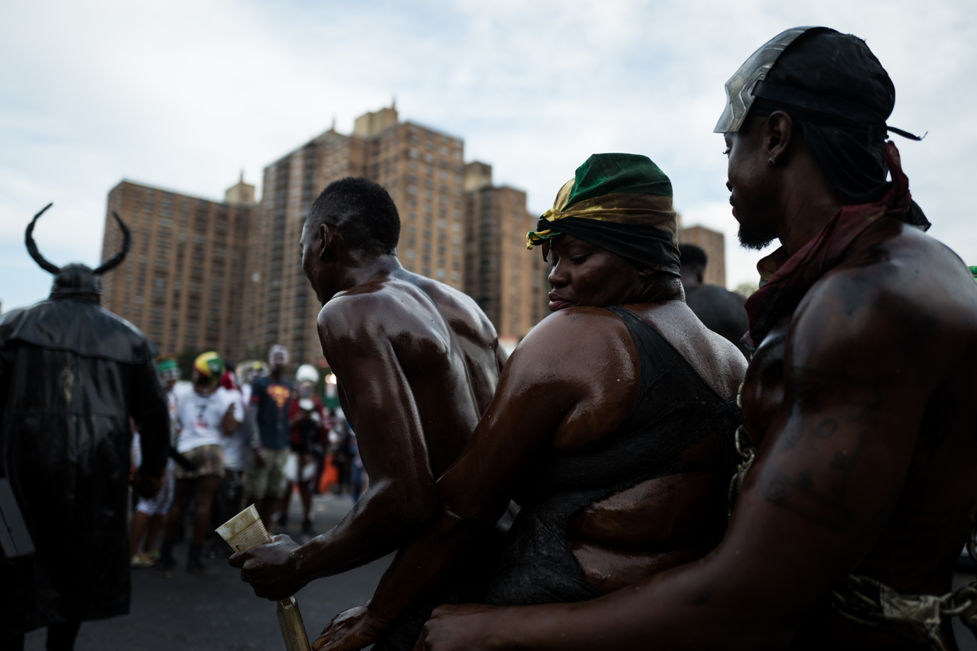 Revelers dance during the overnight-into-dawn celebration called J'Ouvert, ahead of the annual West Indian-American Carnival Day Parade in Brooklyn, NY,September 5, 2016.