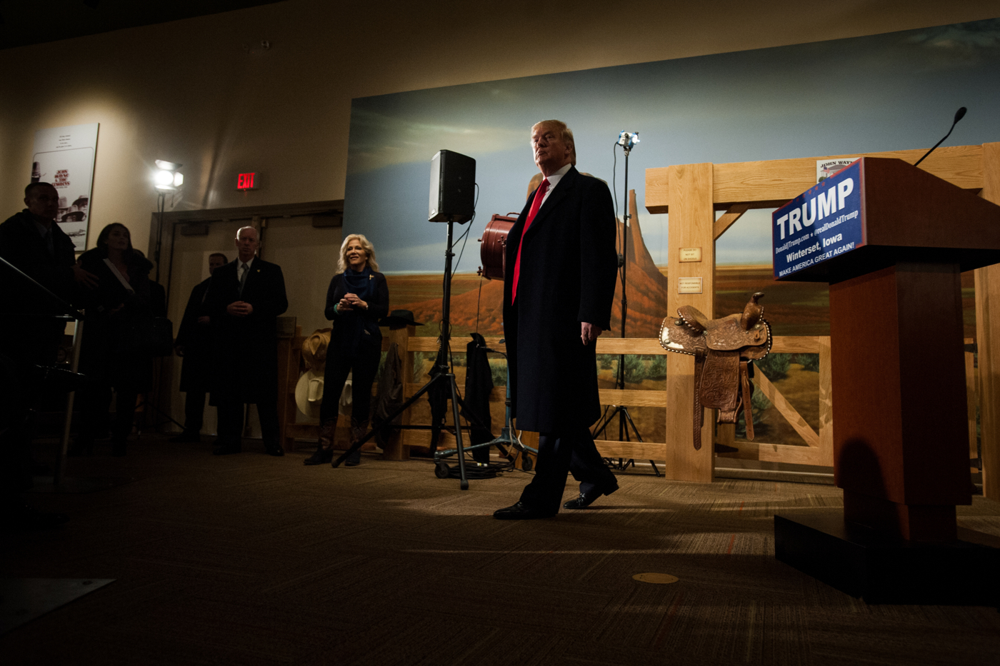 U.S. Republican presidential candidate Donald Trump speaks at a press conference at the John Wayne Birthplace and Museum in Winterset, Iowa January 19, 2016.