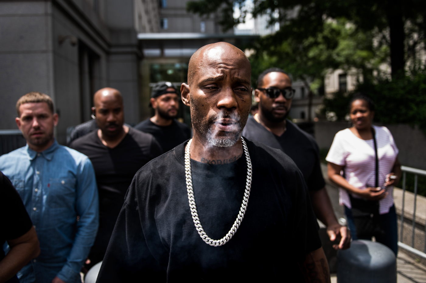 Earl Simmons, the rapper known by his stage name DMX, leaves federal court after an appearance on charges of tax evasion in New York, U.S., on Monday, July 17, 2017.