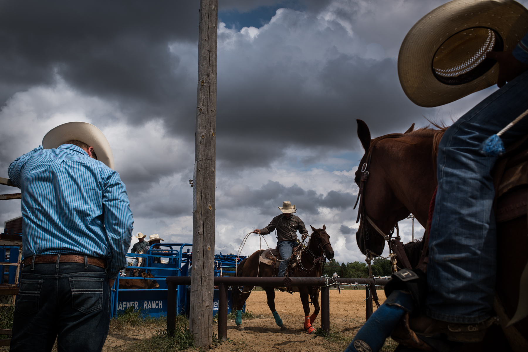 "45º31'30.0""N, 102º28'11.9""W. 111 miles from the nearest McDonald's.  Competitors get ready for the start of tie-down roping competition at a rodeo in Bison, SD."