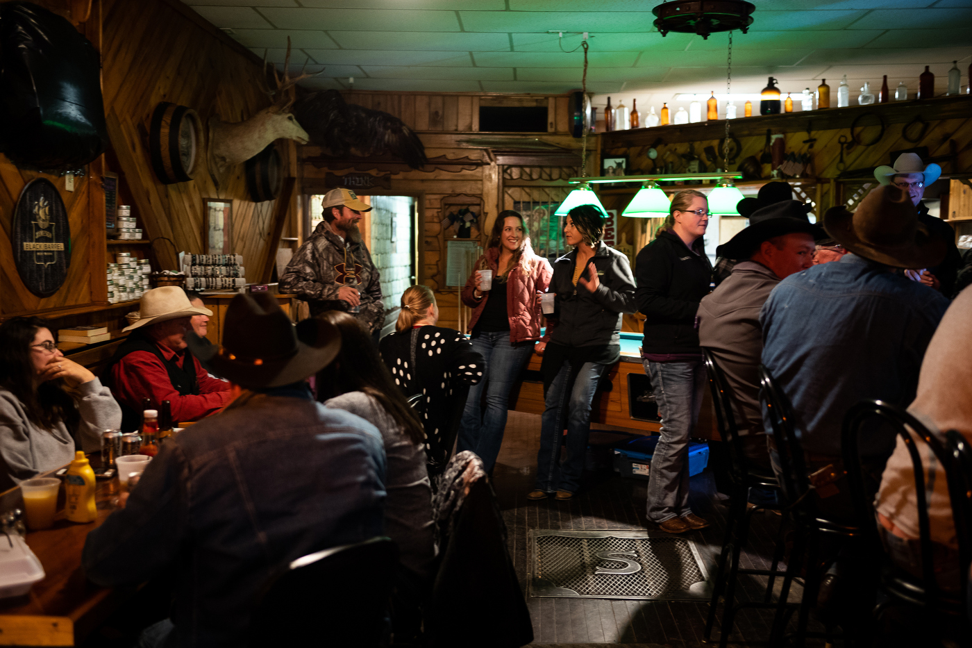 The community gathers for a birthday part at Smoky's Bar in Meadow, SD, where the area population hovers around 30 people.