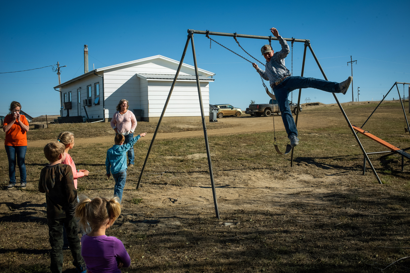Kids play during a twice daily recess at the two room school Maurine Elementary School in Maurine, SD.