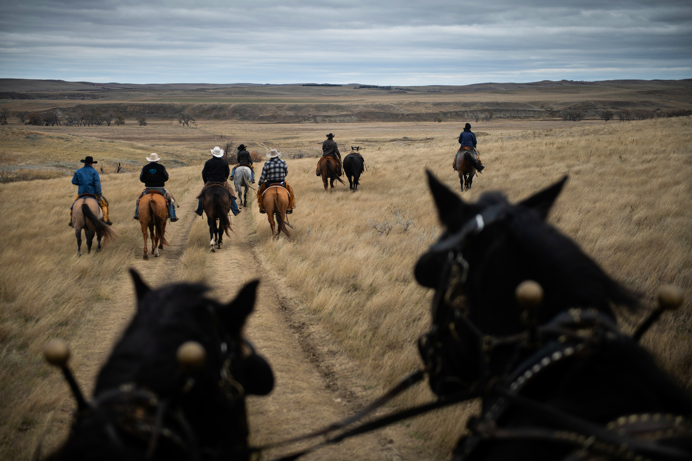 Pallbearers for Gregg Seim, 61, ride horses and lead a riderless horse to his internment at the Seim Family Cemetery in Shadehill, SD.