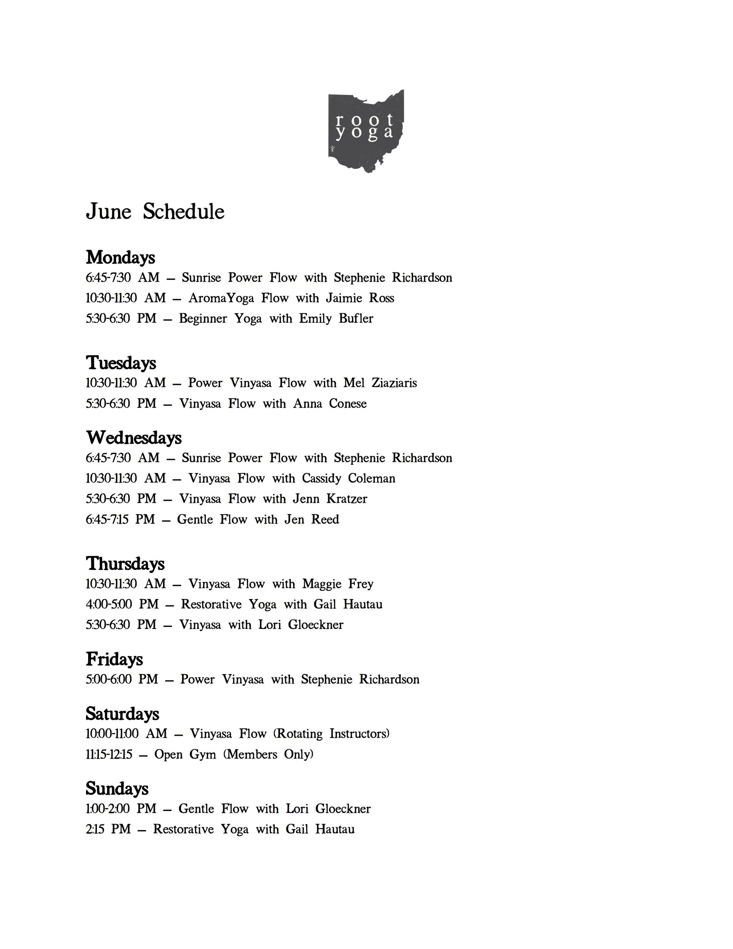 Summer 2019 Schedule