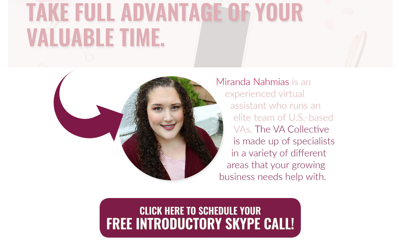 Miranda Nahmias from The VA Collective gives her clients a direct link to her calendar.