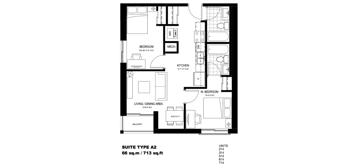 2 Bedroom Suite    A2.  $1,750 / month   SOLD OUT     Click For Virtual Tour