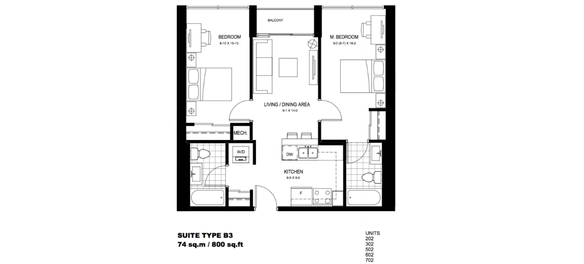 2 Bedroom Suite    B3.  $1,775 / month   SOLD OUT     Click For Virtual Tour