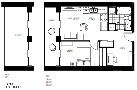1 Bedroom + Study   Study 1. $1,525   SOLD OUT     Click for Virtual Tour