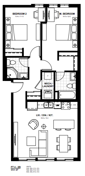 2 Bedroom Suite    FT 4.  $1,900 / month   SOLD OUT     Click for Virtual Tour