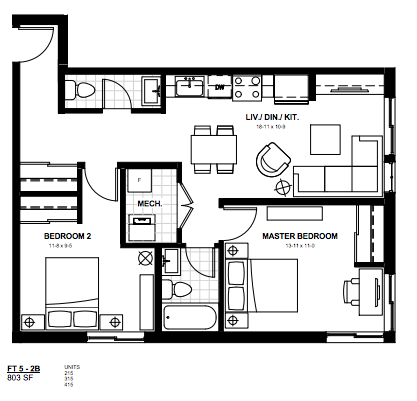 2 Bedroom Suite    Ft 5.  $1,800 / month   SOLD OUT     Click for Virtual Tour