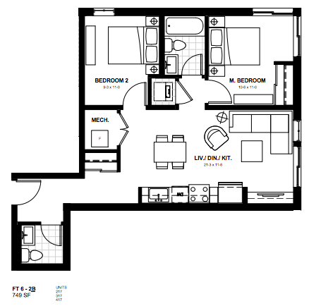 2 Bedroom Suite    Ft 6.  $1,700 / month   SOLD OUT     Click for Virtual Tour