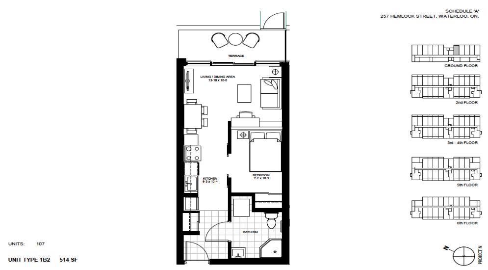 1 Bedroom Suite    1B2.   $1,450 / month