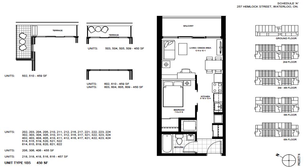 1 Bedroom Suite    1B5.   $1,450 / month