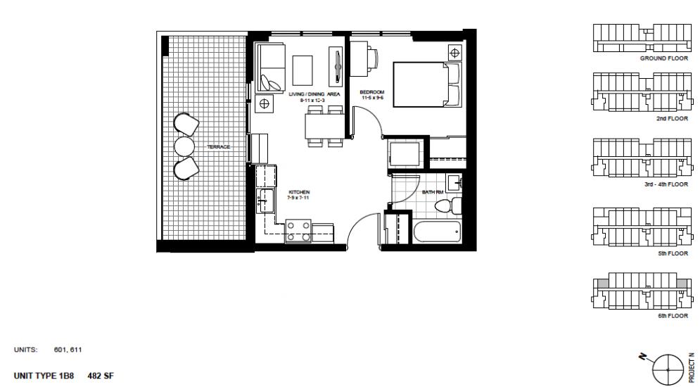 1 Bedroom Suite    1B8 .  $1,525 / month