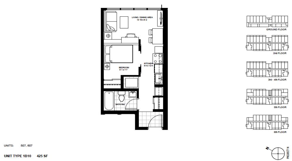 1 Bedroom Suite    1B10 .  $1,425 / month