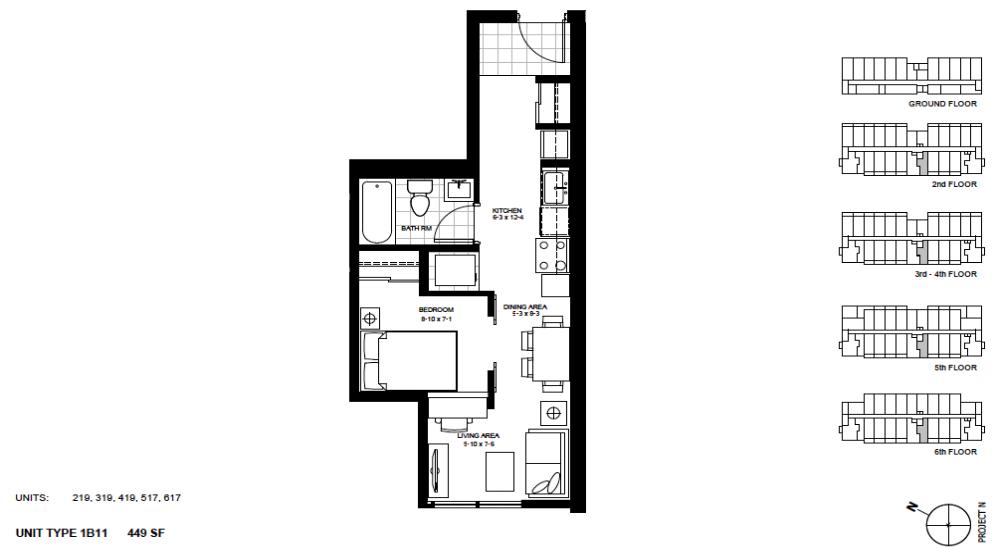 1 Bedroom Suite    1B11 .  $1,430 / month