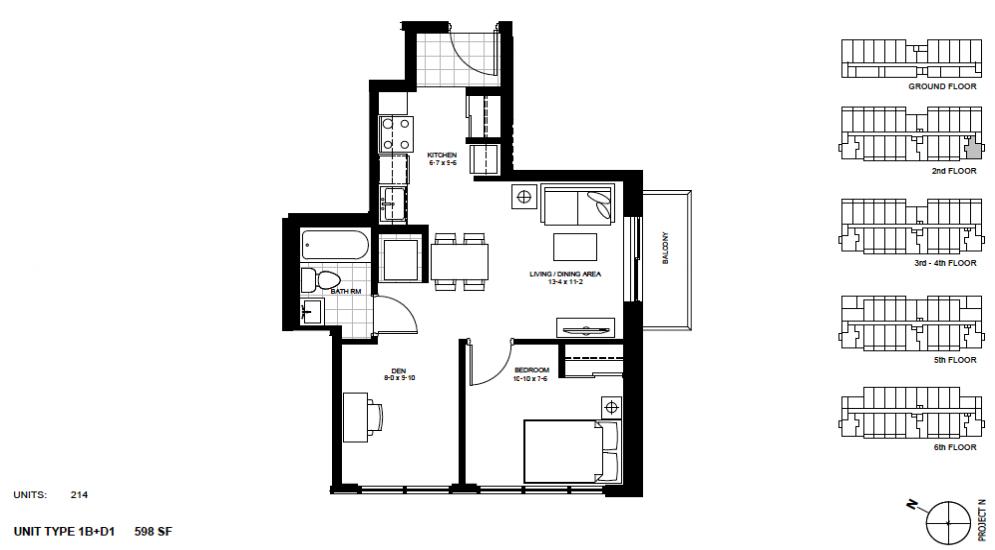 1 Bed + Den Suite    1B+D1 .  $1,650 / month