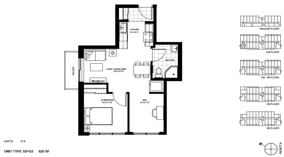 1 Bed + Den Suite    1B+D2 .  $1,675 / month