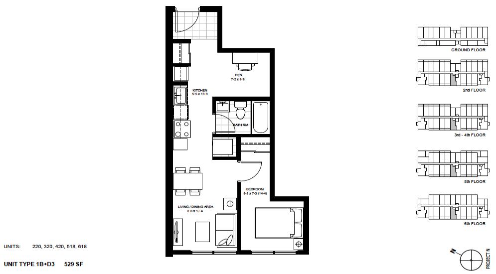 1 Bed + Den Suite    1B+D3 .  $1,675 / month