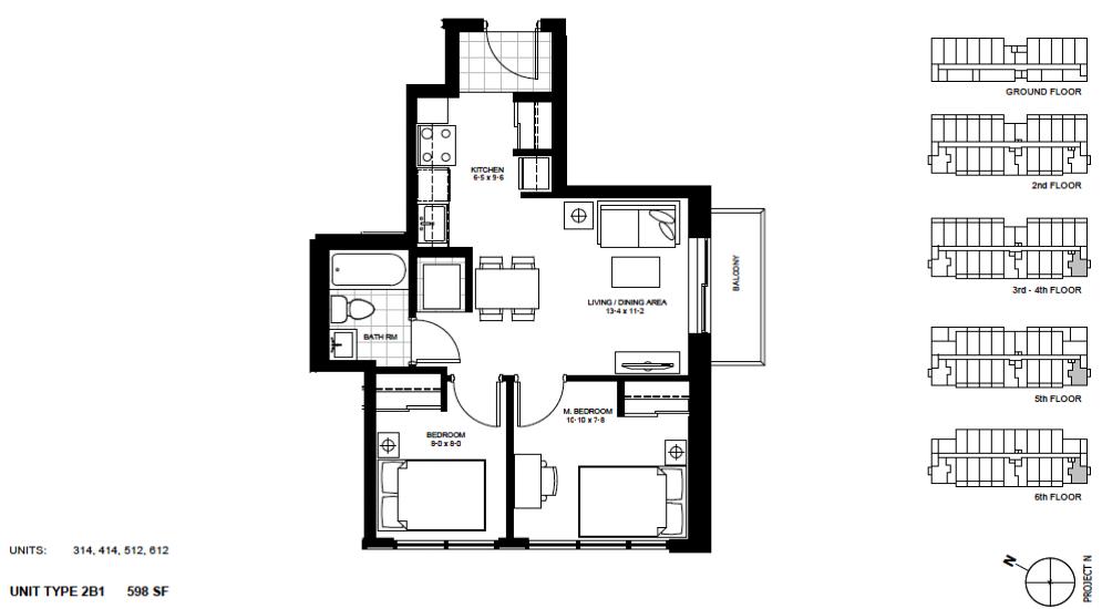 2 Bedroom Suite    2B1.   $1,800 / month