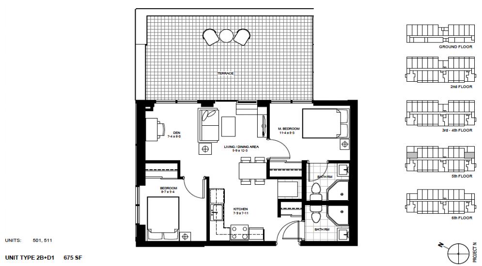 2 Bed + Den Suite    2B+D1.   $1,900 / month