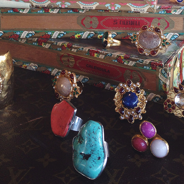 A collection of gold dipped, semi-precious stone rings from Turkey.