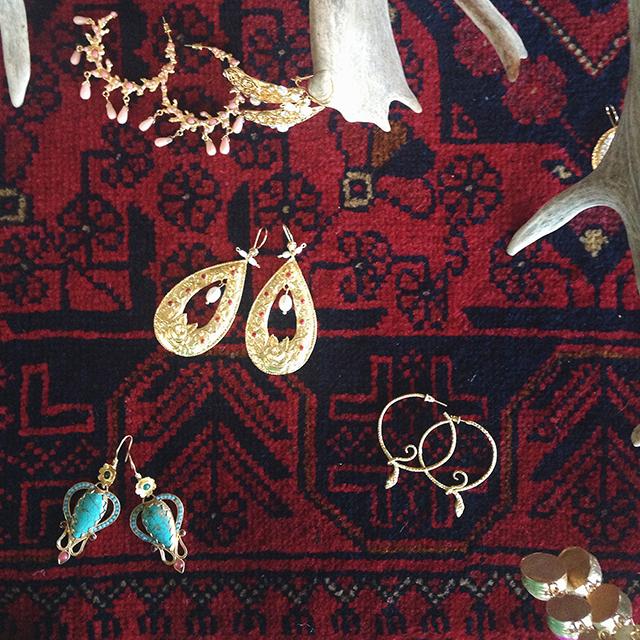 Gold dipped, semi-precious stone earrings from Turkey.