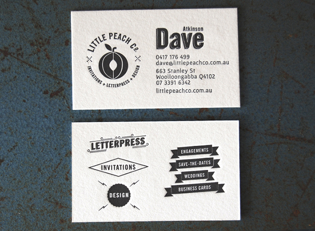 Dave's own business card! Photo:  Little Peach Co.