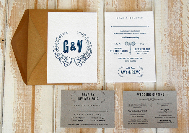 A lovely letterpress wedding invitation suite designed and printed by Little Peach Co. (G&V logo designed by Thea Skelsey and Gale & Vallance). Photo:  Little Peach Co.