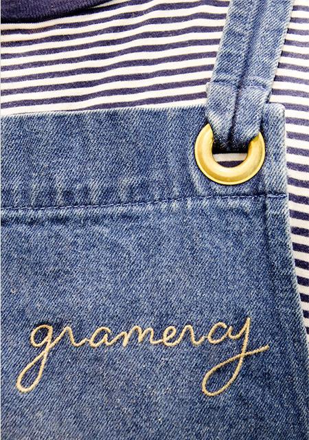A detail shot of the lovely denim aprons. Photo:  Ezra La Vin