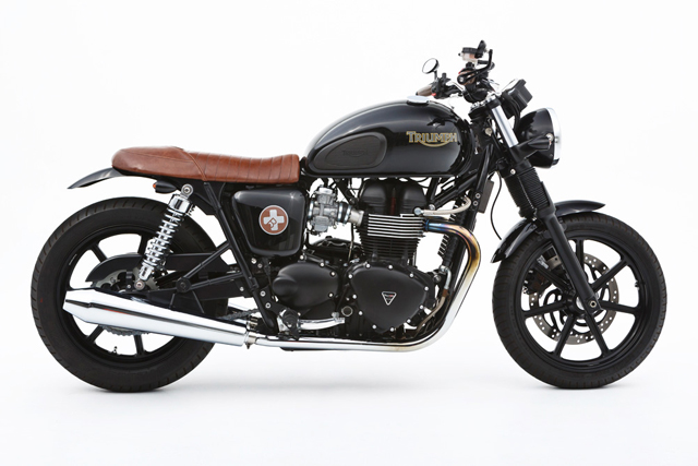 A beautiful customised 2011 Triumph Bonneville created by the team at Ellaspede in collaboration with their very happy client. Photo:  AJ Moller