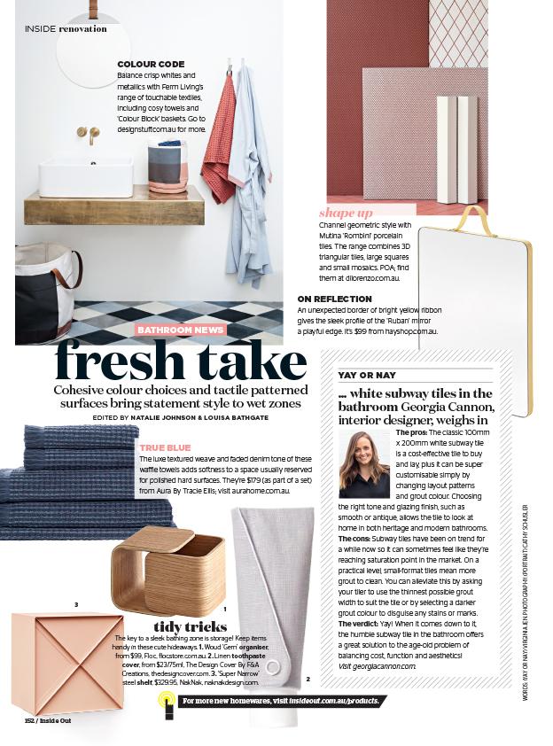 Georgia Cannon in Inside Out Magazine, October 2016, Interior Designer Brisbane