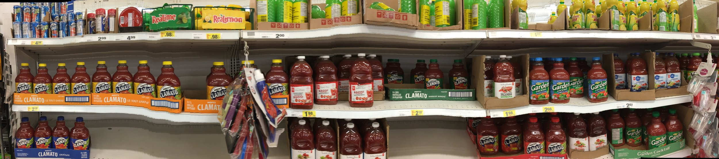 There are a LOT of different Clamato juices in Canadian supermarkets...