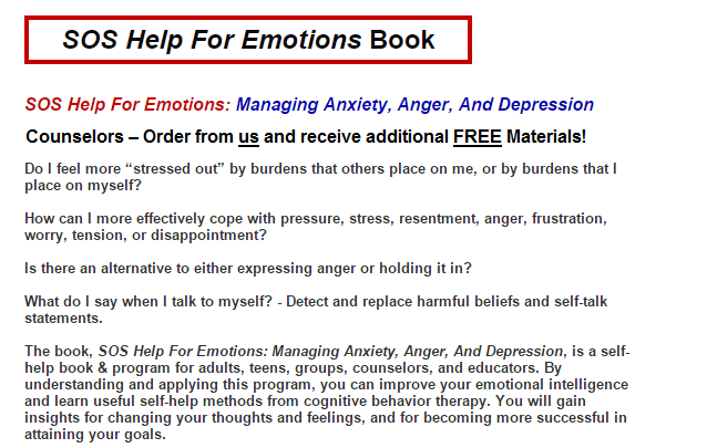SOS Self Help for emotions helps people manage self talk, emotional intelligence, depression, and anxiety.