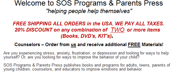 SOS books videos DVDs CDs and parent resources help parents counselors therapists and teachers.