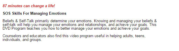 sos help for emotions uses rational emotive behavior therapy, rebt, and mindfulness to reduce anxiety, anger. and depression.