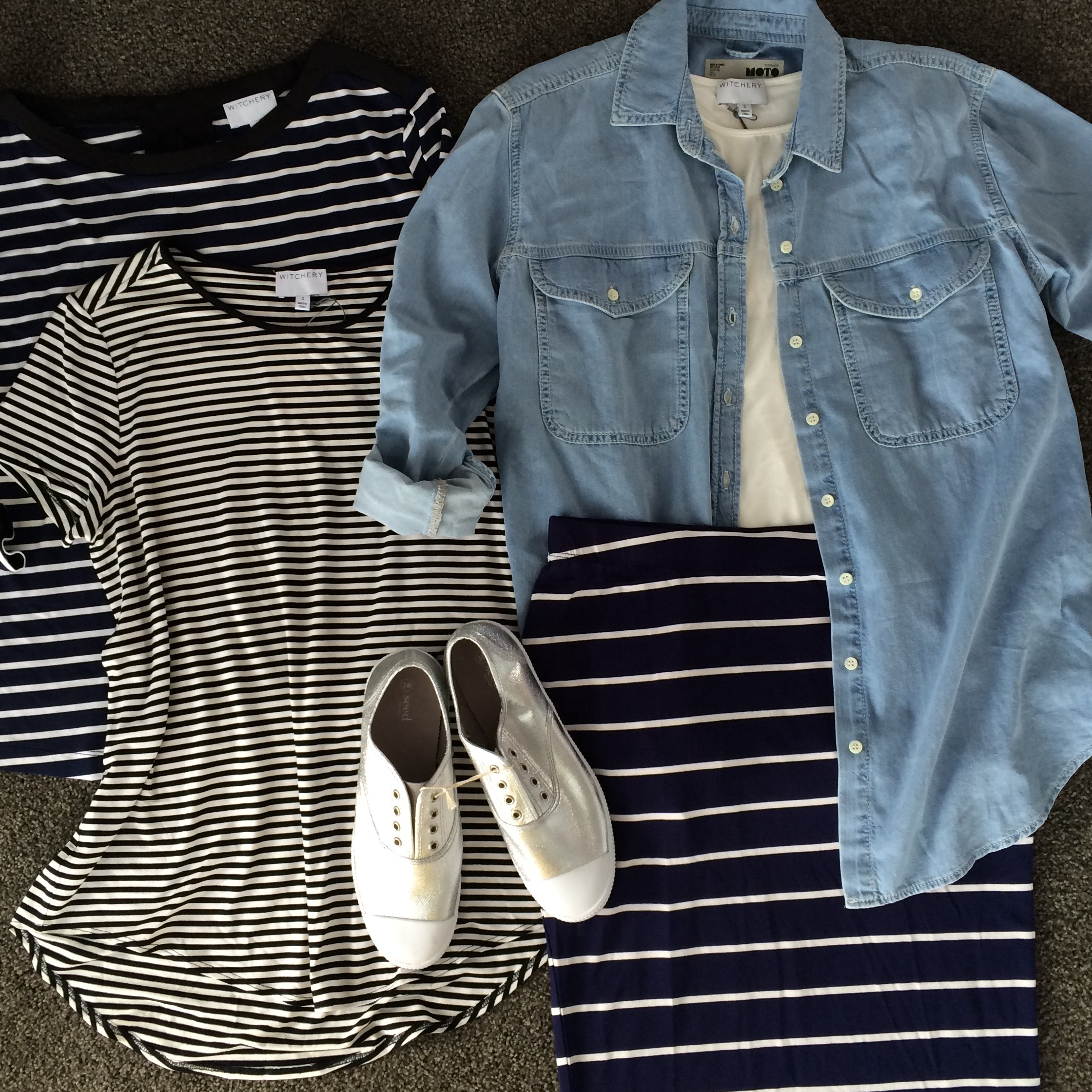 Can't have too many stripes. Loved these t-shirts at Witchery, such a beautiful soft knit. I think my denim shirt from Top Shop will end up being one of favourite purchases from the weekend.