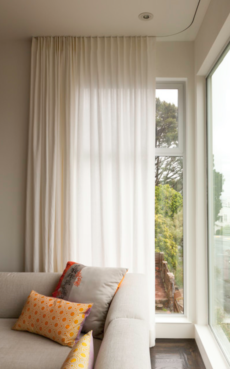 Contemporary Single Pleat Full Length Drapes on a recessed track. Photo: Houzz