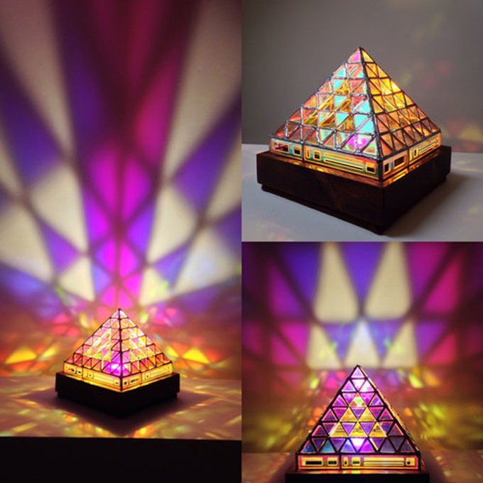 Iridescent Pyramid Lamp